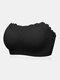 Plus Size Women Floral Lace Wireless Bandeau Adjustable Straps Bra - Black