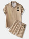 Mens King Of Spades Poker Stripe Print Lapel Short Two Pieces Outfits - Brown