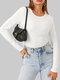 Solid Color O-neck Long Sleeve Casual T-Shirt For Women - White