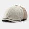 Men & Women Stitching British Retro Artist Temperament Short Brim Peak Top Hat Beret Flat Caps - Beige