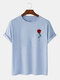 Mens Casual Rose Chest Print 100% Cotton Round Neck Short Sleeve T-Shirt - Blue