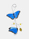 1 PC Alloy Butterfly Stained Suncatcher Glass Window Hangings Ornament Home Garden Decoration Accessories - Blue