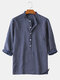 Men 3/4 Sleeve Striped Casual Henley Shirts - Navy