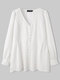 Solid Color Pearl Decoration Pleated Long Sleeve Casual Blouse for Women - White