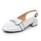 Chunky Heel Buckle Strap Casual Backless Slingblack Sandals - White