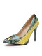 Women Colorful Snake Pattern Pointed Toe Slim High Heels Halloween Party Pumps - Green