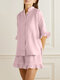 Solid Color Button Ruffle Half Sleeve Casual Set - Light pink