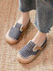 Women Large Round Toe Flax Expadrilles Stitching Slip On Loafers - Deep Blue