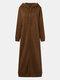 Повседневная длинная куртка с капюшоном и сплошными цветными карманами на молнии Платье - коричневый