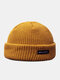 Unisex Acrylic Knitted Solid Color Letter Pattern Cloth Label Fashion Warmth Skull Cap Beanie Hat - Ginger Yellow