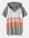 Contrast Color Short Sleeve Hooded Knitted Hollow Women Sweater - Gray
