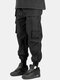Mens Cotton Multi-Pocket Detail Solid Drawstring Utility Cargo Pants With Draw Cords - Black