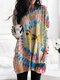 Tie-dyed Print Long Sleeve O-neck Casual Blouse For Women - Yellow