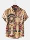 Mens Thin & Breathable Cotton Tribal Pattern Vintage Lapel Holiday Casual Shirt - Khaki