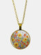 Vintage Glass Printed Women Necklace Colorful Floral Pendant Necklace Jewelry Gift - Apricot