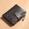 Men Genuine Leather RFID Anti-theft SIM Card Slot Multi-card Slots Large Capacity Foldable Card Holder Wallet - Coffee