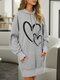 Heart Print Pocket Loose Casual Hoodie For Women - Gray