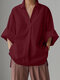 Solid Color Loose Long Sleeve Casual Blouse for Women - Wine Red