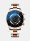 Business Men Watch Steel Band Waterproof Calendar Quartz Watch - Blue Needle Gold Silver Band