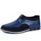 Men Microfiber Leather Splicing Non Slip Slip On Casual Driving Shoes - Blue