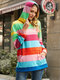 Colorful Striped Print Pocket Long Sleeve Casual Hoodie for Women - Red