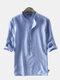 قميص هينلي رجالي مقلم 100٪ قطن 3/4 كم قصير - أزرق