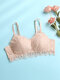 Women Floral Lace Jacquard Breathable Lightly Lined Back Closure Bra - Nude