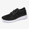 Women Knitted Soft Breathable Slip Resistant Casual Running Sneakers - Black