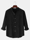Mens Linen Solid Color Simple Stand Collar Long Sleeve Shirts With Pocket - Black