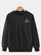 Mens Crown Letter Printing Cotton Plain Casual Crew Neck Sweatshirts - Black