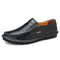 Men Hand Stitching Leather Non-slip Soft Sole Slip On Casual Shoes - Black