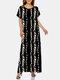Zebra Letters Chain Print Plus Size O-neck Bohemia Dress - Black#3