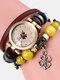 Multilayer Vintage Women Watch Decorated Pointer Four Leaf Clover Pendant Beaded Quartz Watch - #06