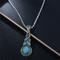 خمر قلادة قلادة زرقاء الفيروز قلادة العتيقة الفضة سلسلة قلادة أقراط للنساء