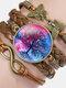 Vintage Tree Of Life Theme Pattern Butterfly Geometric Shape Hand-braided Glass PU Alloy Multi-layer Bracelet - #01