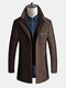 Mens Fake Two Pieces Woolen Trench Coat Thickened Warm Slim Fit High Quality Business Casual Coat