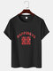 Mens Chinese Character Happiness Print Linen Texture Short Sleeve T-Shirts - Black