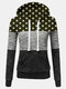 Women Stars Print Patchwork Contrast Color Pocket Casual Hoodie - Green