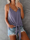 Solid Color V-neck Strap Knotted Cami For Women - Purple