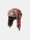 Men Cotton Dacron Plush Metal Badge Lattice Windproof Waterproof Thicken Ear Protection Cold-proof Trapper Hat - #02
