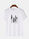Mens Tree Forest Print 100% Cotton Casual Short Sleeve T-Shirts - White