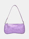 Women PU Alligator Shoulder Bag Handbag - Purple