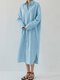 Solid Color Turn-down Collar Front Button Casual Shirt Dress - Light Blue