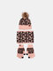 Women 3PCS Wool Leopard Pattern Screen-touchable Knitted Gloves Neck Protection Scarf Warm Knitted Hat - Pink