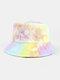 Women & Men Corduroy Multicolor Tie Dye Casual Soft Outdoor All-match Bucket Hat - #11
