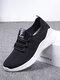 Women Casual Elastic Band Knitting Elasticity Comfortable Soft Sports Walking Shoes - Black