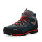 Men Outdoor Slip Resistant Lace Up Leather Hiking Boots - Orange