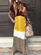 Contrast Color Patchwork V-neck Short Sleeve Casual Dress - Yellow