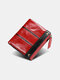 Men Genuine Leather RFID Anti-theft 8 Card Slots Retro Foldable Card Holder Wallet - Red
