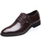 Men Stylish Leather Splicing Lace Up Business Formal Dress Shoes - Brown
